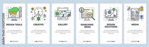 Obraz Design solutions, tools, ideas. Mobile app onboarding screens, vector website banner template - fototapety do salonu