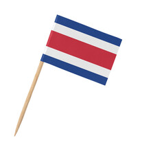 Small Paper Costa Rican Flag On Wooden Stick