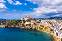 Aerial View Of Ibiza Town, Cas...