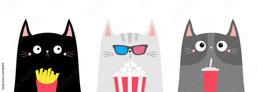 Fototapeta Cat set. Popcorn, soda, french fries. Cute cartoon funny character. Cinema theater. Film show. Kitten in 3D glasses watching movie. Kids print for notebook cover. White background. Flat design