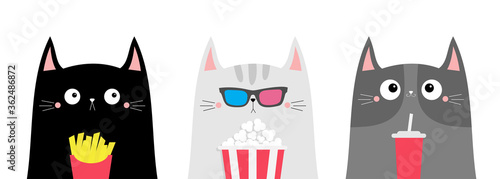 Fototapeta Cat set. Popcorn, soda, french fries. Cute cartoon funny character. Cinema theater. Film show. Kitten in 3D glasses watching movie. Kids print for notebook cover. White background. Flat design obraz