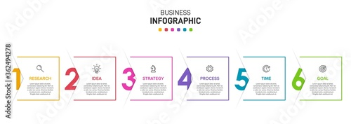 Fototapeta Concept of arrow business model with 6 successive isometric steps. Six colorful graphic elements. Timeline design for brochure, presentation. Infographic design layout obraz