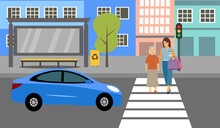 Woman Help Elderly Woman Crossing The Road At Crosswalk With Traffic Light Vector Illustration. Road, Car, City Street, Mom And Daughter And Traffic Light In Flat Design.