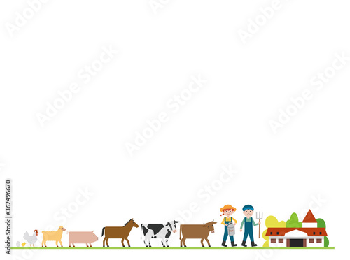 牧場の動物イラストセット Fototapete