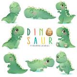 Fototapeta Dinusie - Cute little dinosaur poses with watercolor illustration