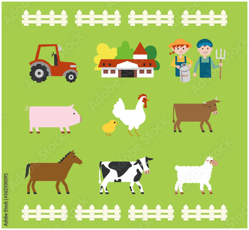 Leinwand Poster 牧場の動物イラストセット