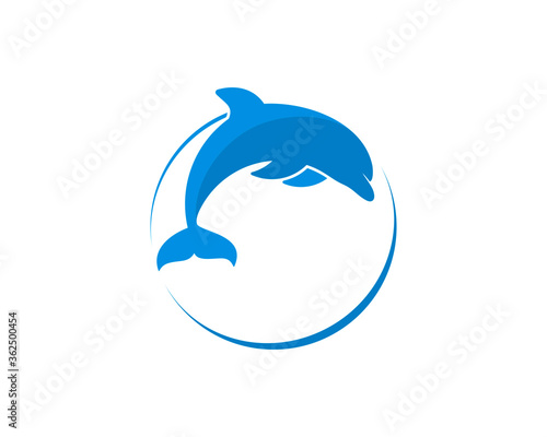 Canvas Print Circle shape with jumping dolphin