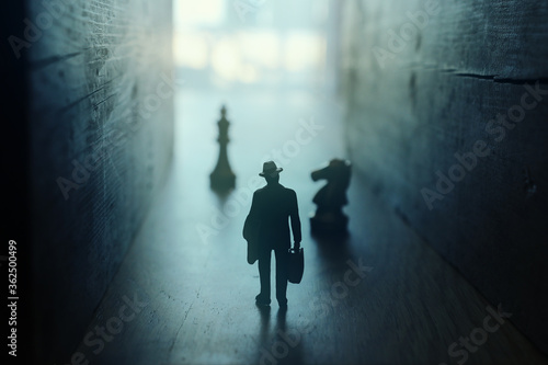 Businessman walks on an unknown road and chess at the end Wallpaper Mural