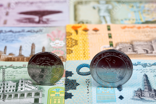 Fotografía Yemeni coins on the background of money