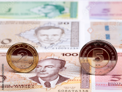 Fotomural Bosnia and Herzegovina coins on the background of money