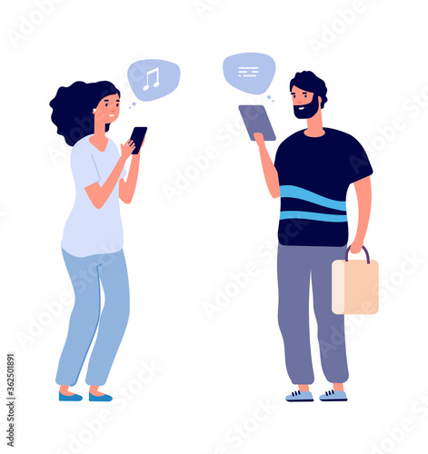 Fototapeta Gadgets using. People chatting, man woman search information in internet. Web connecting and conversation. Flat guys with smartphones vector illustration. Internet smartphone communication obraz