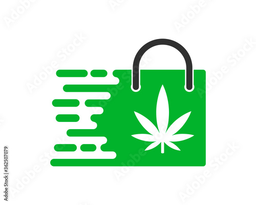 Canvas Print Fast shopping bag with cannabis inside