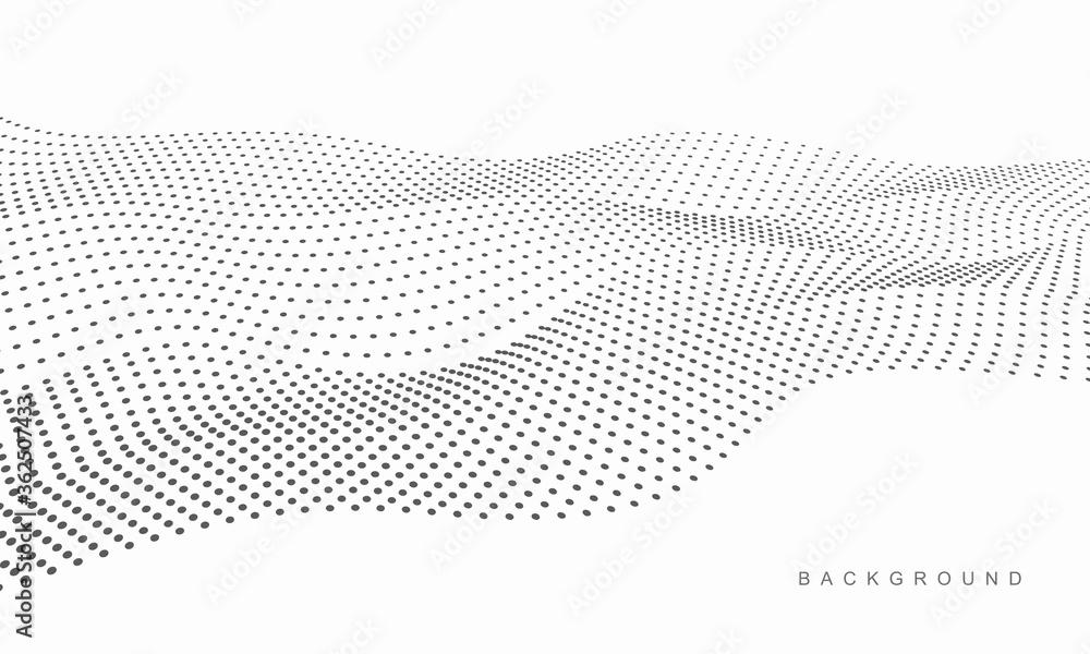 Fototapeta Abstract vector halftone dots. Halftone wave dots background.