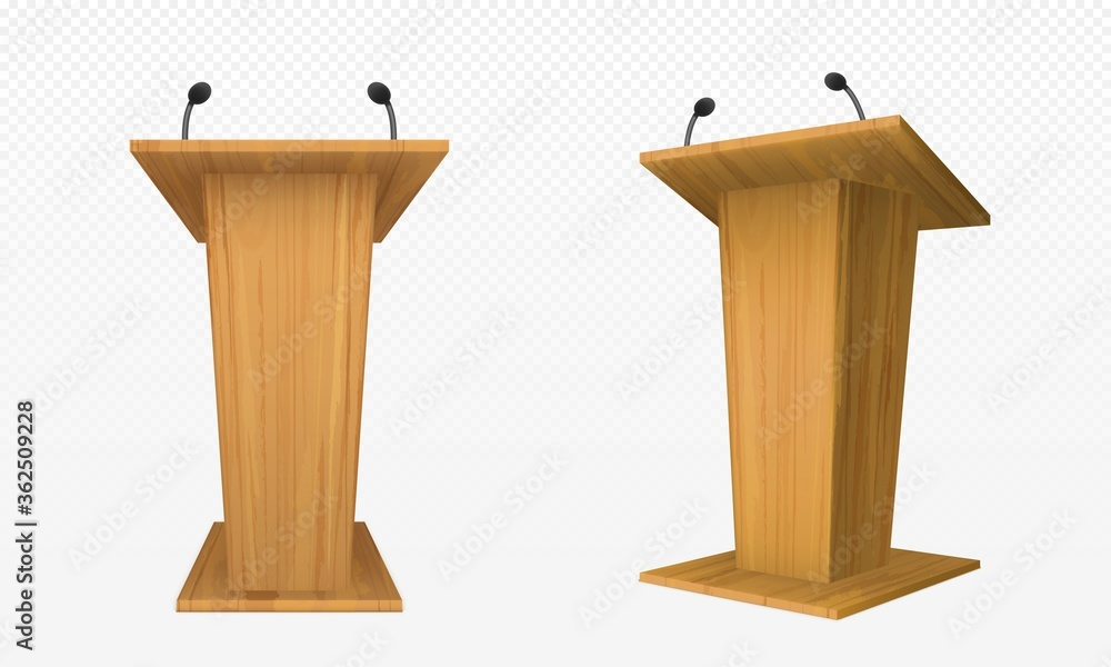 Fototapeta Wooden pulpit, podium or tribune front side view. Rostrum stand with microphone for conference debates, trophy isolated on transparent. Business presentation speech pedestal Realistic vector mock up