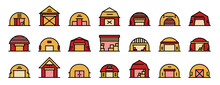 Hangar Icons Set. Outline Set Of Hangar Vector Icons Thin Line Color Flat On White