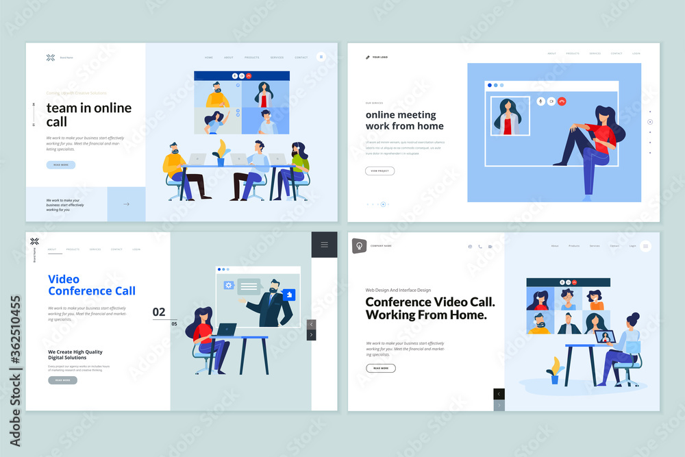 Fototapeta Web page design templates of video call, online meeting, work from home, teamwork. Vector illustration concepts for website development.