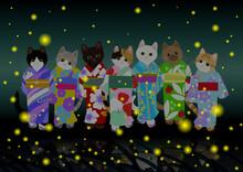 蛍狩り 艶やかな浴衣を着た七猫ちゃん 陰翳礼讃な日本の風情を楽しむ