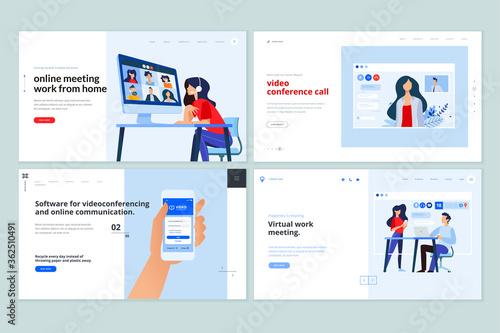 Fototapeta Web page design templates of video calling app, online communication, video conferencing . Vector illustration concepts for website development.  obraz
