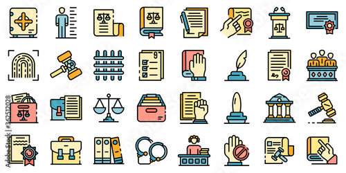 Legislation icons set Canvas-taulu