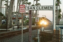 Railway System Of The Coastal San Clemente City In The USA During Sunset