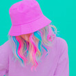 canvas print picture - Summer fashion kawaii girl in trendy bucket hat. Stylish Pastel colours monochrome design. ideal for bloggers, websites, magazines, business owners,  Fashion street style concept