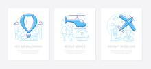 Airline Transportation - Line Design Style Banners Set