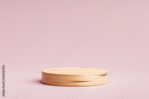 Cuadros en Lienzo Wooden product display or showcase pedestal on pink background with cylinder stand