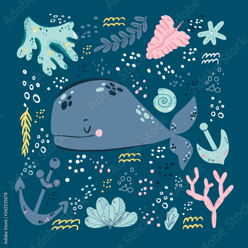 Childish print with cute lovely baby whale vector illustration Canvas Print