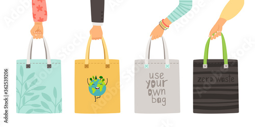 Fototapeta Zero waste bags. Arms holding own reusable bag poster, hand drawn durable items without plastic isolated on white background obraz