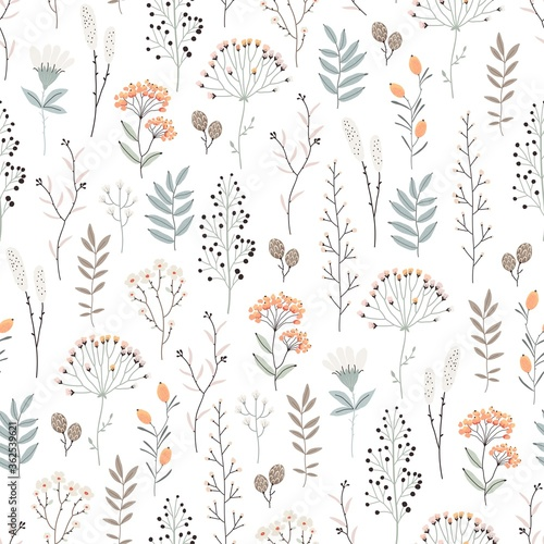 Tapeta do sypialni  floral-seamless-pattern-with-abstract-flowers-branches-leaves-and-plants-botanical-vector