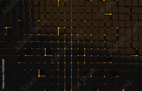 Fotomural Abstract geometric shape of black cubes 3d render