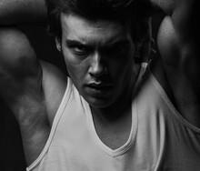 Sexy Male Model Posing In Whit...