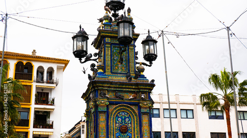 Fotomural monumental fountain at the centre decorated with Seville ceramics located on Pla