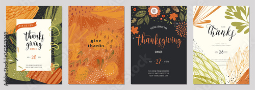 Thanksgiving cards. Set of abstract creative universal artistic templates. Good for poster, invitation, cover, banner, placard, brochure and other graphic design.  - 362543040