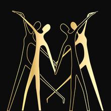 Gold Couple Dancing. International Dance Day. Heart, Love, Art