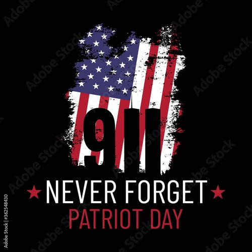 Fototapeta Patriot day illustration. We will newer forget 9\11. September, 11 rememberance day. Vector patriotic illustration with american flag and New York obraz