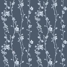 A Japanese Cherry Peach Blossom Sakura Flower Seamless Print Pattern Background Tile Design
