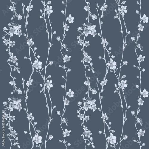A Japanese cherry peach blossom sakura flower seamless print pattern background Billede på lærred