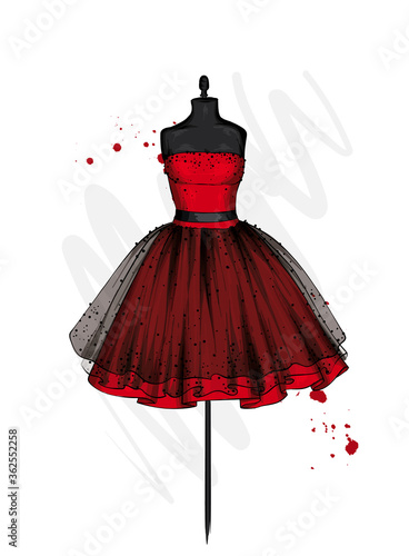 A beautiful dress with a lush skirt Fototapet