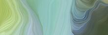 Unobtrusive Header With Elegant Curvy Swirl Waves Background Design With Dark Sea Green, Dark Olive Green And Dim Gray Color