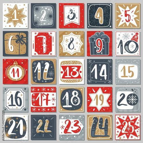 Stampa su Tela December advent calendar