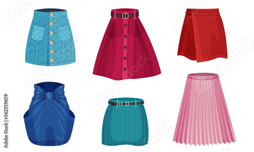 Stampa su Tela Different Skirt Models with Flared Skirt and Pleated Skirt Vector Set