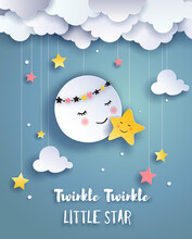 Cute Moon And Little Star, Goodnight And Sweet Dream Illustration, Nursery Poster, Paper Art Vector.