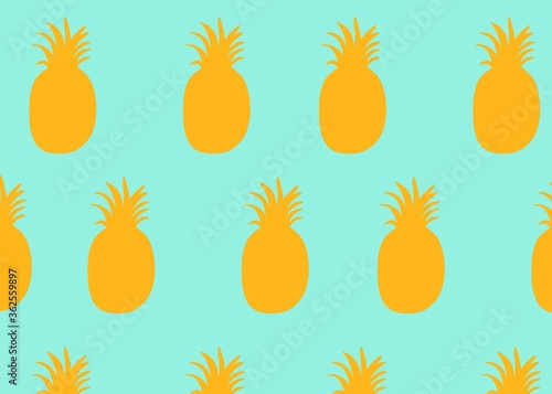 seamless pattern with pineapple fruit  yellow  blue color