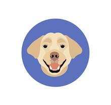 Warning Beware Of Dog, Dog Will Bite Do Not Enter. Labrador Retriever Vector Dog Icon.