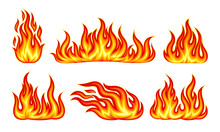 Tongues Of Bright Flame Flickering Isolated On White Background Vector Set