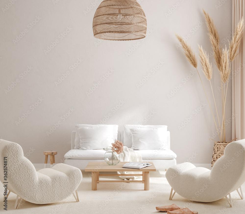 Fototapeta Scandi-Boho style living room interior, wall mockup, 3d render