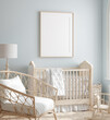 Leinwanddruck Bild - Mock up frame in boy nursery with natural wooden furniture, 3D render