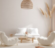 Leinwanddruck Bild - Scandi-Boho style living room interior, wall mockup, 3d render