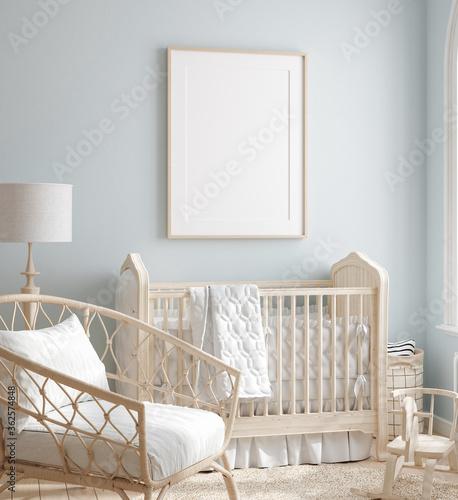 Fototapeta Mock up frame in boy nursery with natural wooden furniture, 3D render obraz